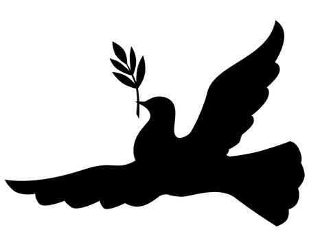 symbole de la paix: Symbole de paix de la silhouette colombe avec une branche de palmier Illustration