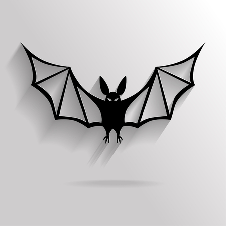 vampire cartoon: Flat Halloween background with black vampire