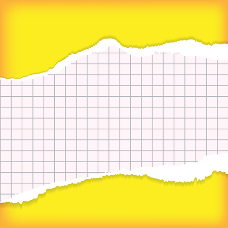 entries: Sheet of torn paper for entries on yellow background Illustration