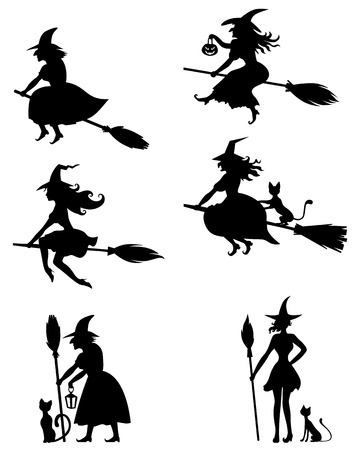 Set of silhouette black-and-white image of Halloween witches Çizim