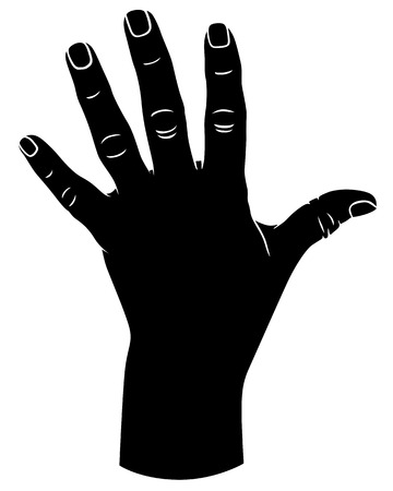Silhouette black-and-white image of  hand with fingers spread 向量圖像