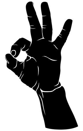 Silhouet zwart-wit beeld van de hand met de vingers gekruist in het teken van okaySilhouette zwart-wit beeld van de hand met de vingers gekruist in het teken van goed Stock Illustratie