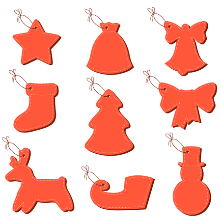 figured: Vector figured Christmas greeting labels on a string Illustration