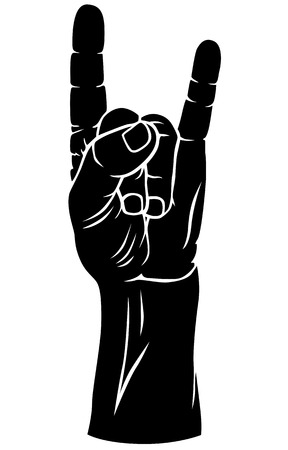 fingers crossed: Vector  silhouette black-and-white image of  hand with fingers crossed in the figure