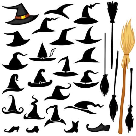 Vector set of Halloween accessories icon hat, broomstick, shoos Vector