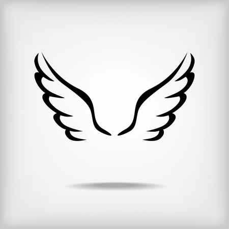 wings icon: Vector ali contorno icona su sfondo grigio con ombra