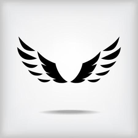 wings icon: Vector ali silhouette icona su sfondo grigio con ombra
