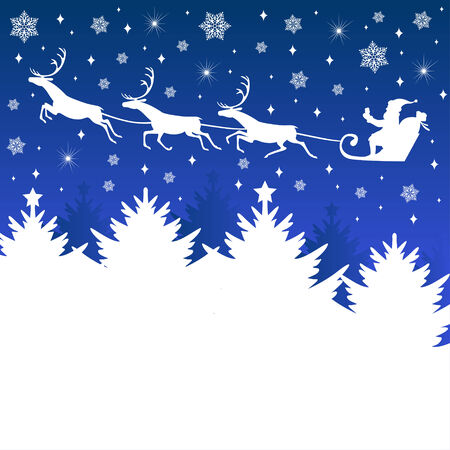 Vector illustrations of Christmas greeting with Santa on sleigh with deers on snowflakes background Vector