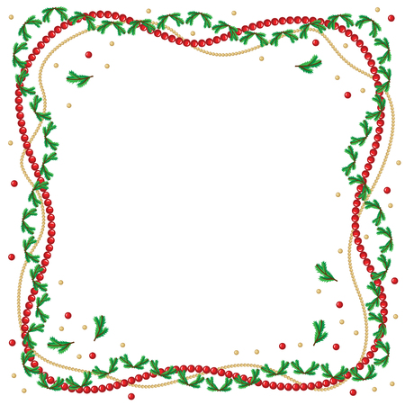 Christmas greeting frame with fir branches and red and golden beads Vector