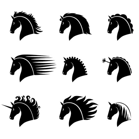 cabeza caballo: Ilustraciones del vector fijadas de la silueta de una hermosa cabeza de caballo con crines diferentes