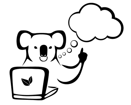 Vector illustrations of contour image of koalas for laptop Illusztráció