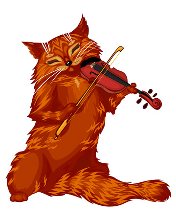 Vector isolated illustrations of cartoon cat playing the violin Vector