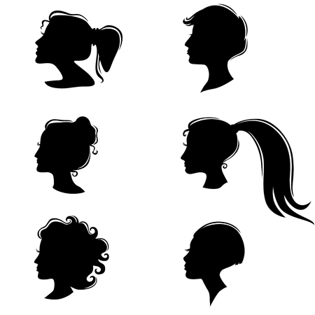 Vector illustrations set of silhouette of a beautiful girl with a hairstyle Vector