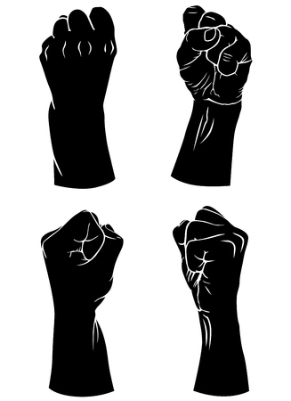Vector illustrations of silhouettes set of hands with fingers folded into a fist in different poses Vector