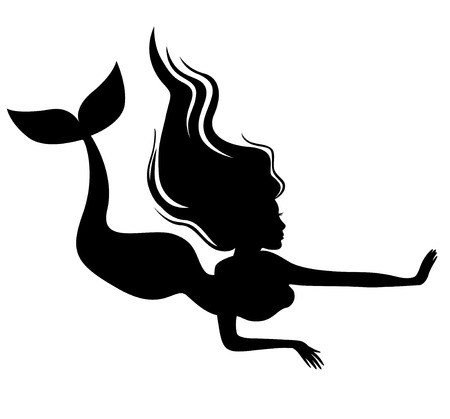 Vector illustrations of silhouette of a mermaid