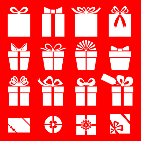 gift bow: Vector illustrations of  set silhouette of white gift icon on red background