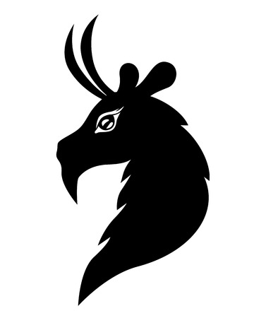 goat head: Vector illustrations of silhouette of silhouette goat head - symbol 2015 Illustration