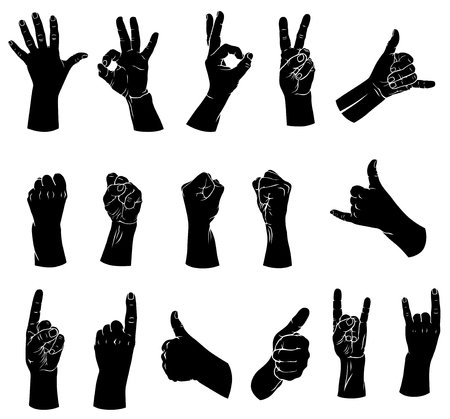 Vector illustrations of silhouettes set of hands showing different gestures Vector