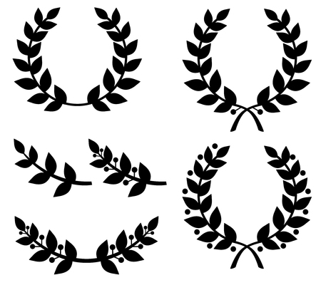 Vector illustrations of silhouettes set of different laurel wreaths and laurel branches Vector