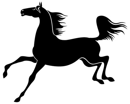 gait: Vector illustrations of silhouette of graceful arabian horse galloping