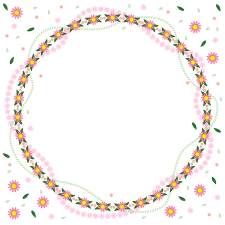 Vector illustrations of greeting round frame of pink flowers and leaves garlands Vector