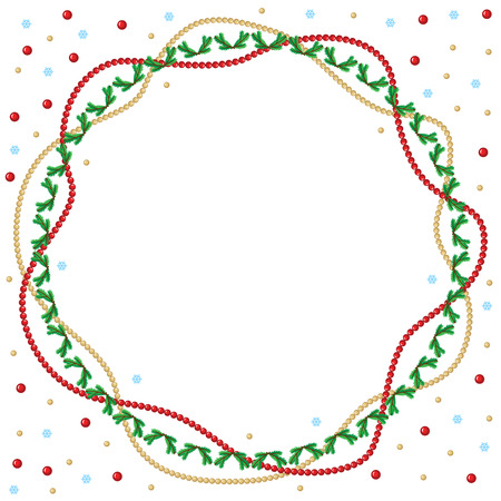 Vector illustrations of Christmas greeting round frame of red and gold beads garlands and fir branches garland Vector