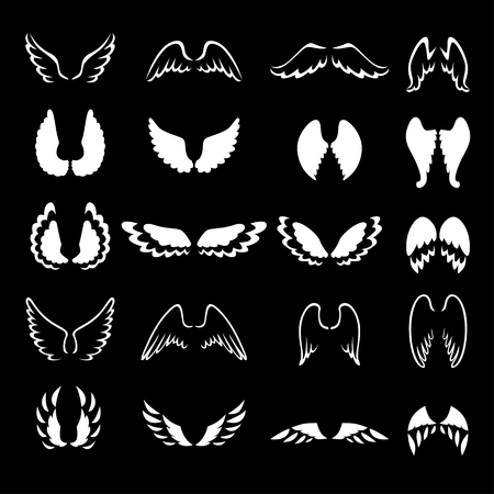 animal angelic: Vector illustrations of  set of white contour and silhouette different wings on black background