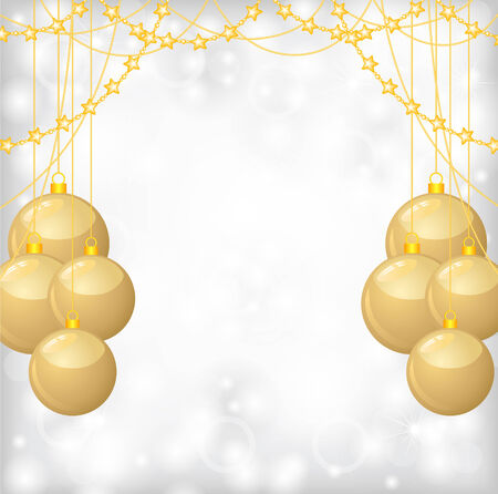 Vector illustrations of Christmas greeting background with gold balls and gold beads garlands Vector