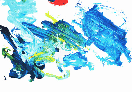 Vector illustrations of Gouache Abstract background of colorful strokes on the white paper Illustration