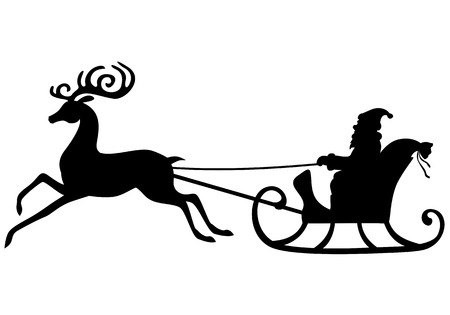 Vector illustrations of silhouette Santa Claus rides in a sleigh pulled by a beautiful deer antlered Stock Illustratie