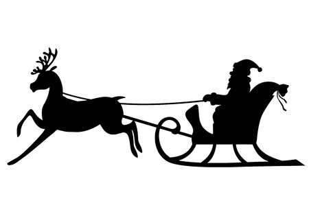 Vector illustrations of silhouette Santa Claus rides in a sleigh pulled by a cute deer Иллюстрация