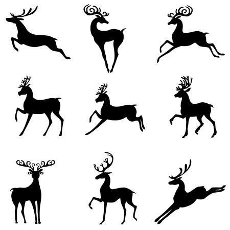 deer: Vector illustrations of set of silhouettes of cute Christmas deer antlered