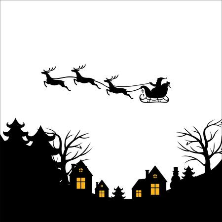 Ilustraciones del vector de saludo de Navidad con Santa en un trineo de renos vuela sobre la tierra, casa, árboles