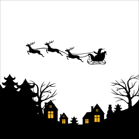 Vector illustrations of Christmas greeting with Santa on a reindeer sleigh flies above the ground, home, trees Çizim