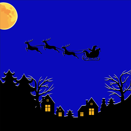 nights: Vector illustrations of Christmas greeting with Santa on a reindeer sleigh flies above the ground, home, trees on nights sky background Illustration