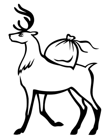 carries: Vector illustrations of  Christmas deer carries on his back a bag of gifts