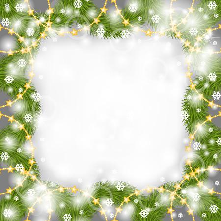 navidad estrellas: Ilustraciones del vector de Marco de la Navidad para felicitaciones de abeto rama decorada cuentas de oro guirnalda