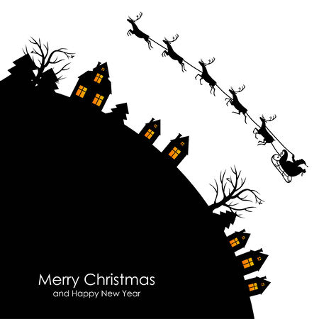 santa sleigh: Vector illustrations of Christmas greeting with Santa on a reindeer sleigh flies above the Earth, home, trees, fir