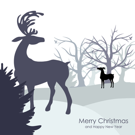 congratulatory: Vector illustrations of  Christmas congratulatory background with winter forest and deer