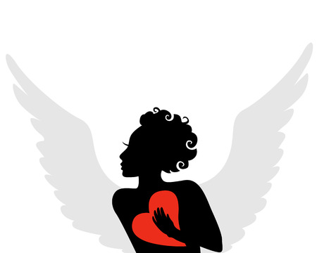 red winged: Vector illustrations of silhouette of a winged cupid with a red heart in hand for Valentines Day