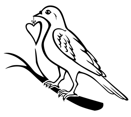 beak: Vector illustrations of contour of birds sitting on a branch and holding in the beak gift heart