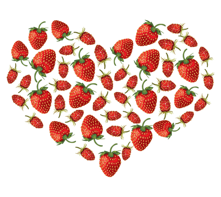 drupe: illustrations of valentine heart of strawberries and wild strawberries