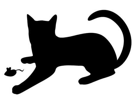 Vector illustrations of silhouette of black graceful cat playing with a mouse