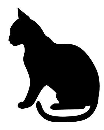 Vector illustrations of silhouette of black graceful cats in the profile Illustration