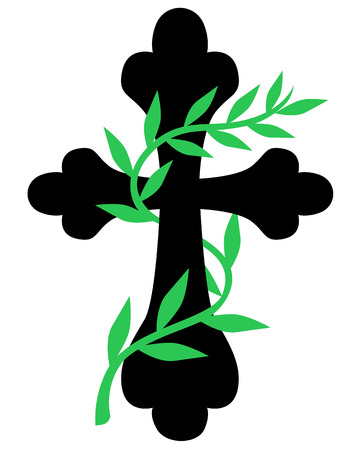 entwined: Vector illustrations of silhouette image of a cross entwined with vine leaves Illustration