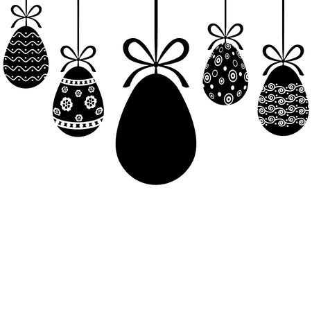 Vector illustrations of Decorative Easter eggs hanging on ribbons with bows Vector