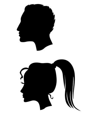 cabeza femenina: Vector ilustraciones de perfiles silueta de hombre y mujer Vectores