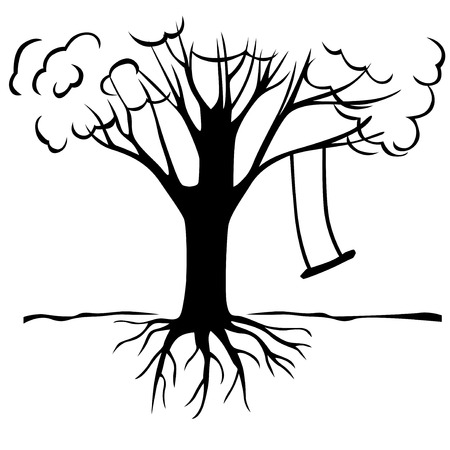 Vector illustrations of contour large tree with a spreading crown and hanging on a branch empty swings Vector