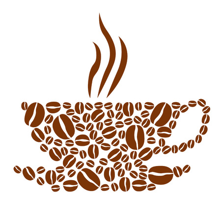 Vector illustrations of cup of coffee with steam made from coffee beans Vector