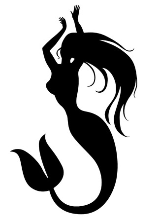 Vector illustrations of silhouette of a dance mermaid